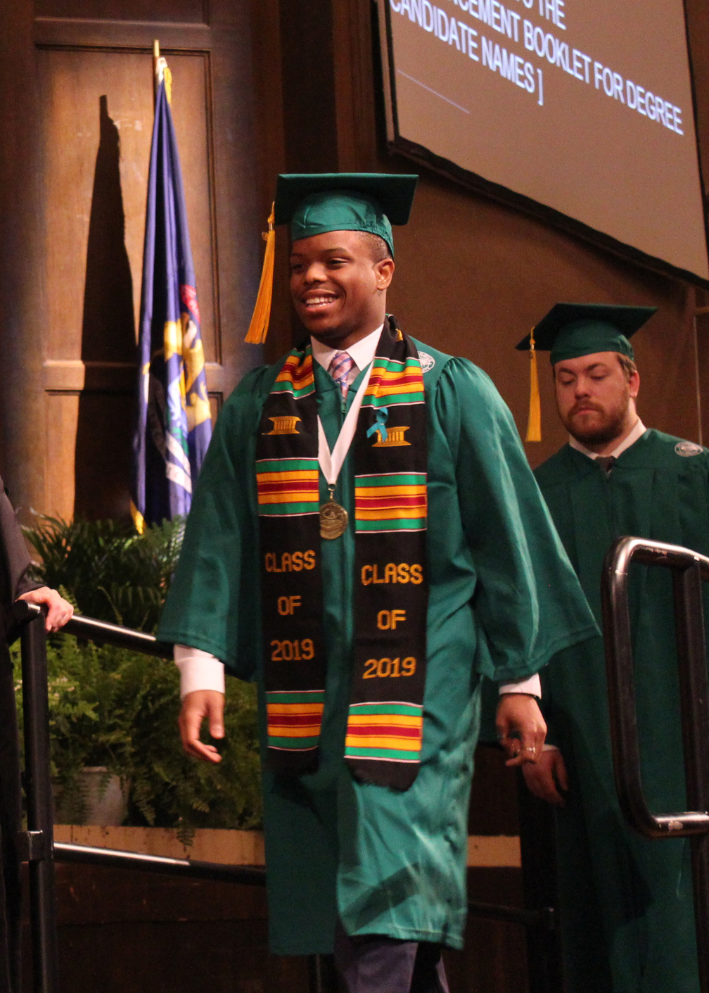 Malcolm Davis at Spring 2019 Commencement, prior to receiving his diploma